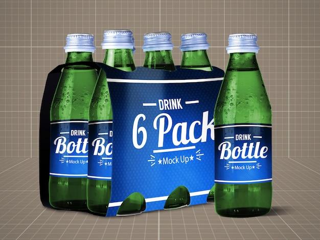 Paquete de 6 botellas mock up