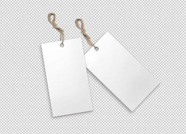 Paquete aislado de etiquetas blancas con tira de yute