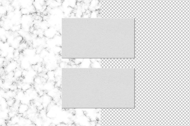 Paquete aislado de tarjetas de visita con superficie de mármol