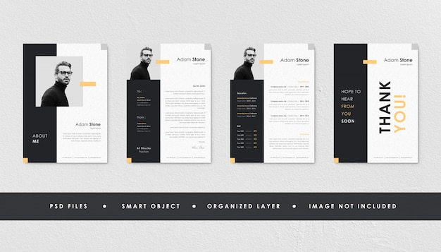 Paquete de currículum minimalista negro amarillo currículum