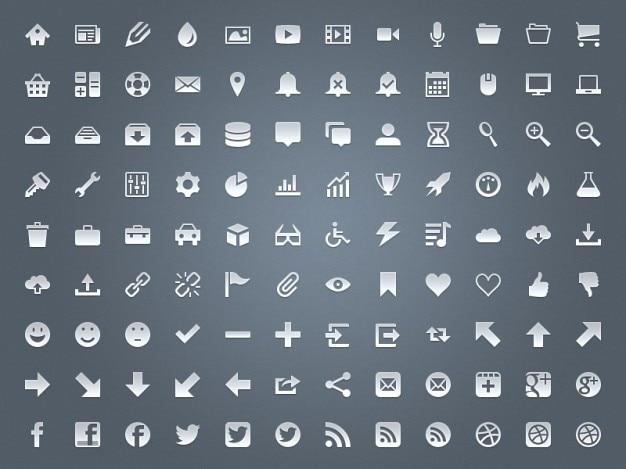 Paquete de iconos metálicos en psd