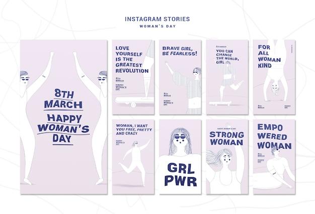 Paquete de historias de instagram del día de la mujer