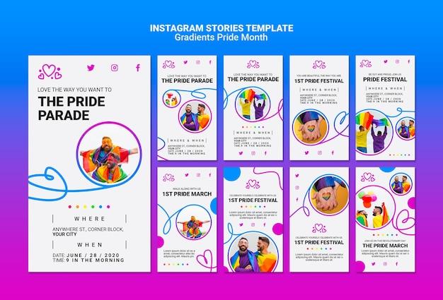 Paquete de historias de instagram para el orgullo lgbt