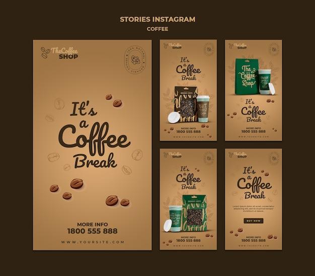 Paquete de historias de redes sociales de cafetería