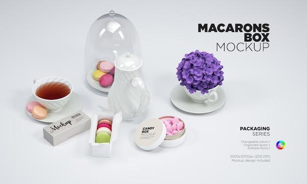 Paquete de macarrones y dulces de maqueta con té