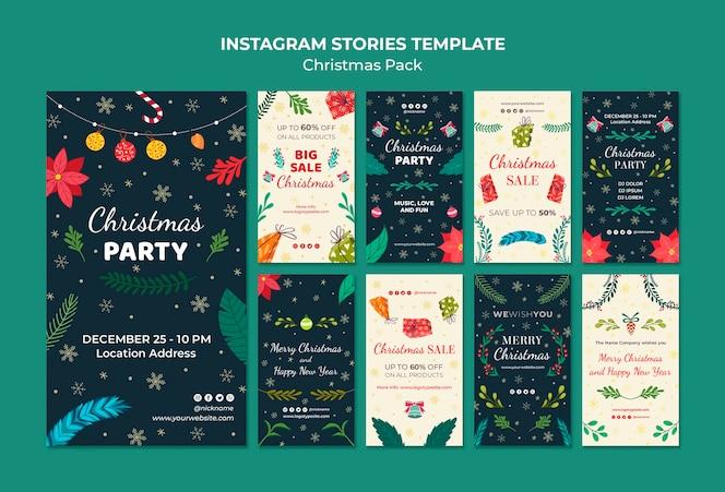 Paquete de navidad de plantilla de historias de instagram