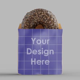 Paquete de papel con maqueta de donut de chocolate aislado