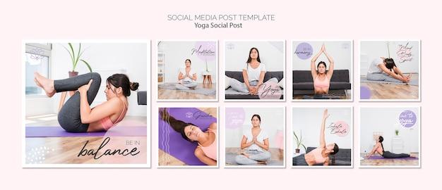 Paquete de post de yoga en redes sociales
