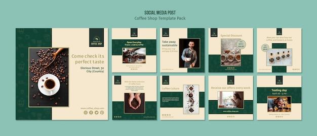 Paquete de publicación de redes sociales de banner de cafetería