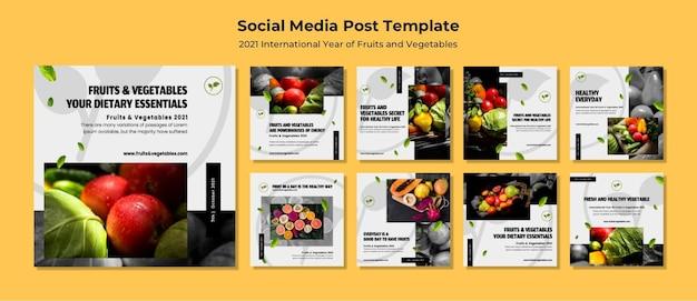 Paquete de publicaciones de instagram del año internacional de las frutas y verduras