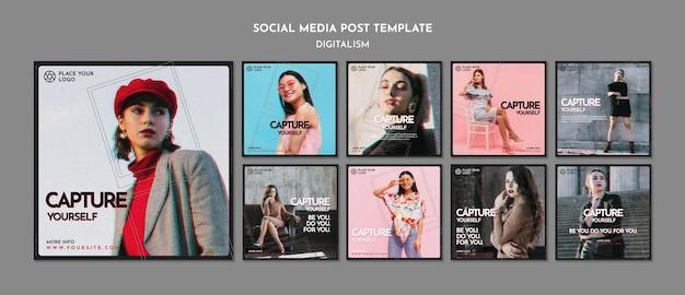 Paquete de publicaciones de instagram para capturar tu propio tema