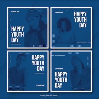 Paquete de publicaciones de instagram para el día internacional de la juventud