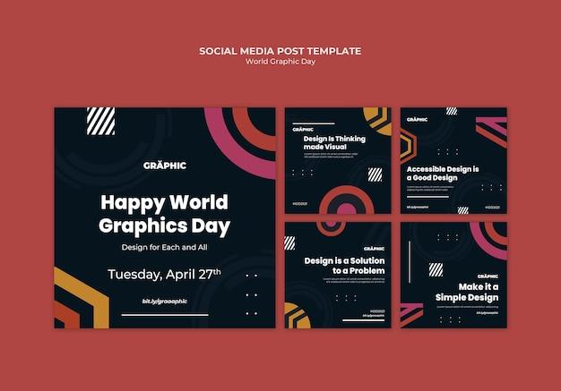 Paquete de publicaciones en redes sociales del día mundial de los gráficos