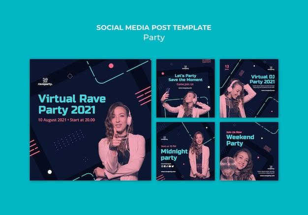 Paquete de publicaciones en redes sociales para fiestas en línea