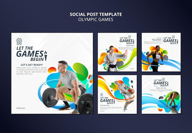 Paquete de publicaciones en redes sociales de juegos deportivos