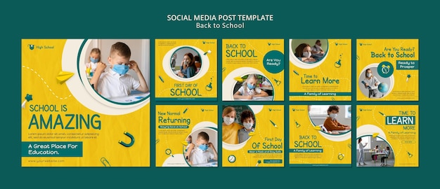 Paquete de publicaciones de redes sociales de regreso a la escuela