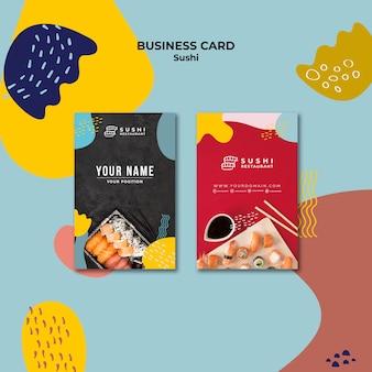Paquete de tarjeta de visita de restaurante de sushi