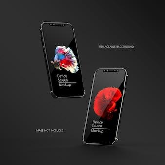 Par de maqueta de teléfono inteligente con pantalla de dispositivo