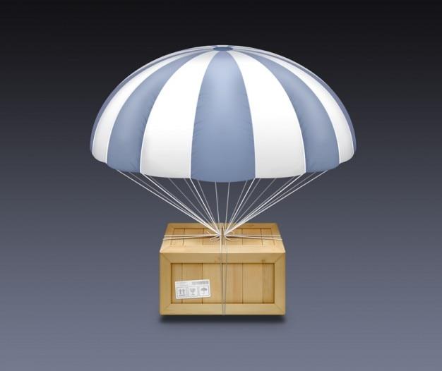 Paracadute di legno con strisce