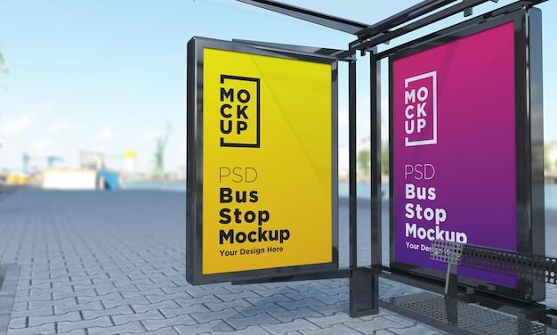 Parada de autobús, autobús, refugio, señal, maqueta, representación 3d