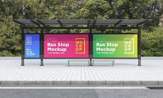 Parada de autobús refugio de autobús tres señales maqueta representación 3d