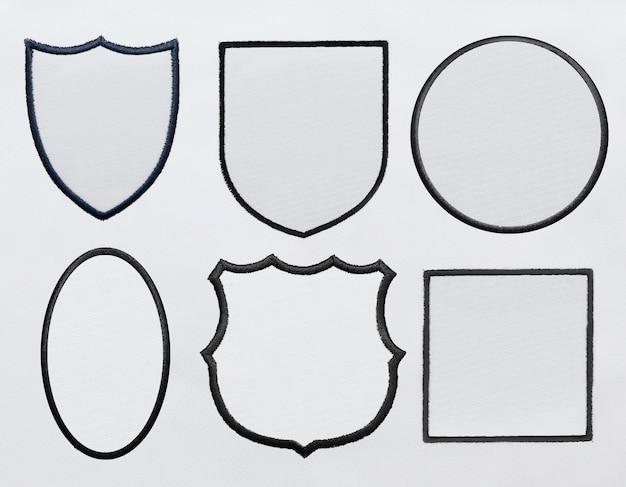 Parche logo sobre fondo de tela blanca en archivo psd