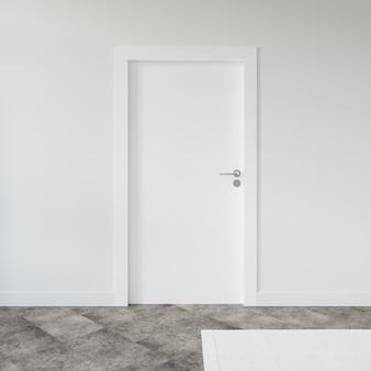 Pared con maqueta de puerta en blanco