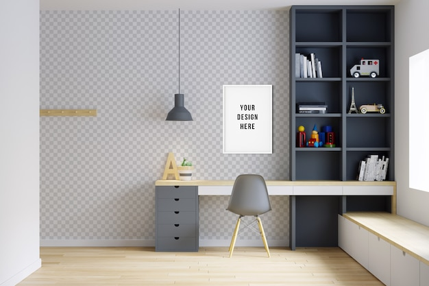 Pared y marco de la maqueta del dormitorio de los niños con decoraciones