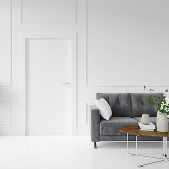 Pared con puerta en blanco y sofá