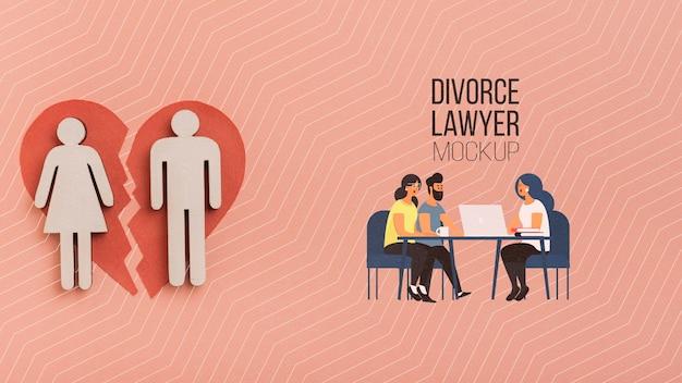 Pareja hablando con el concepto de abogado