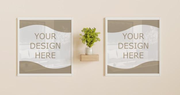 Pareja maqueta de marco blanco cuadrado en la pared con decoración vegetal