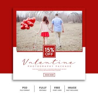 Pareja valentine banner social media post instagram rojo blanco descuento
