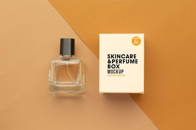 Parfumfles en doos mockup ontwerp geïsoleerd