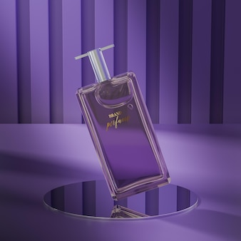 Parfumfles logo mockup op abstracte paarse achtergrond