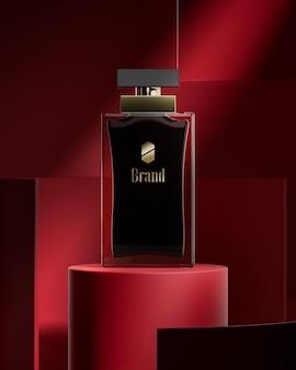 Parfumfles logo mockup op abstracte rode achtergrond