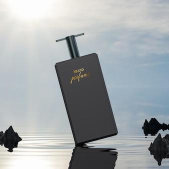 Parfumfles logo mockup op oceaan achtergrond
