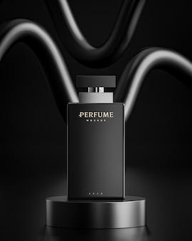 Parfumfles logo mockup op zwarte abstracte achtergrond voor branding 3d render