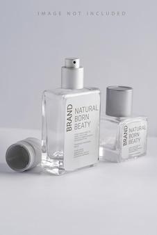 Parfumflesje, geurspray mock-up met zonlicht,