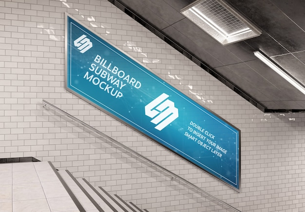 Parijse stijl billboard op ondergrondse trap muur mockup