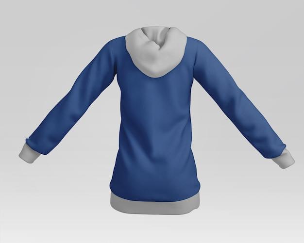 Parte posterior de la maqueta con capucha de mujer
