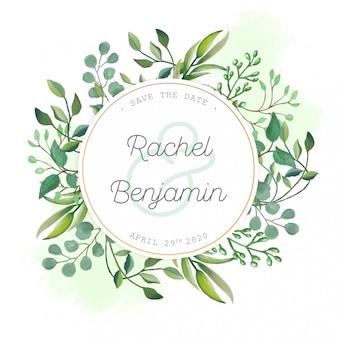 Partecipazione di nozze con foglie dell'acquerello