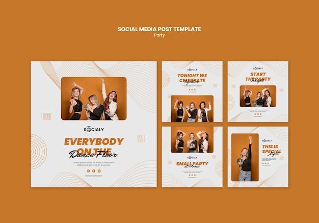 Partij concept social media post