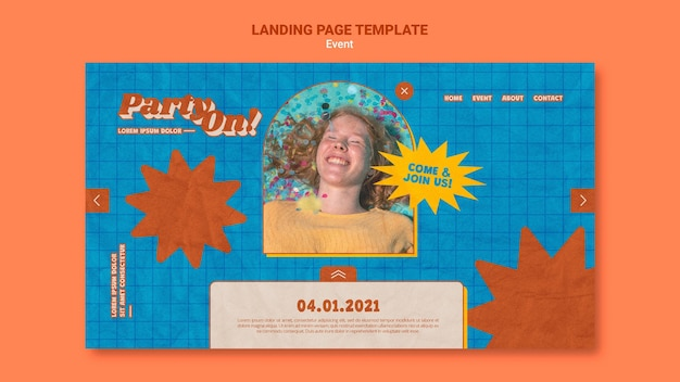 Partij op websjabloon met foto