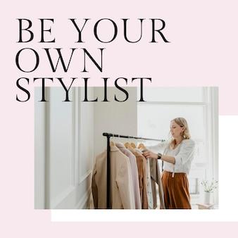 Pas je kledingsjabloon psd aan voor posts op sociale media