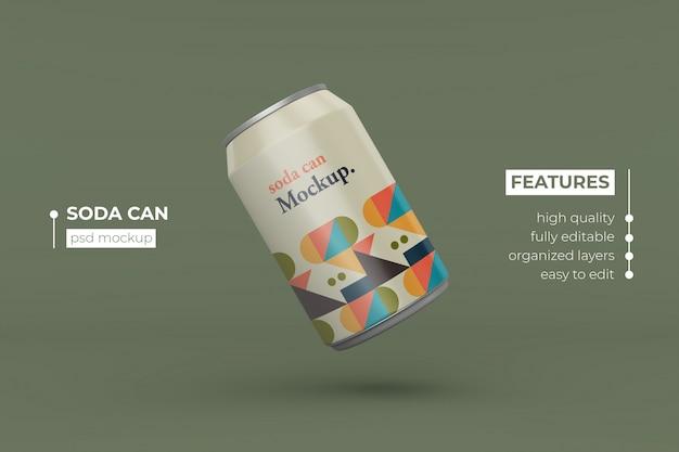 Pas realistische lange metalen drank kan mockup ontwerp aan