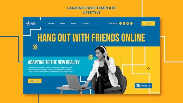 Pasar el rato con amigos en la página de destino en línea