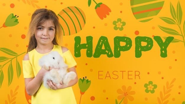 Pasen-model met meisje en konijn