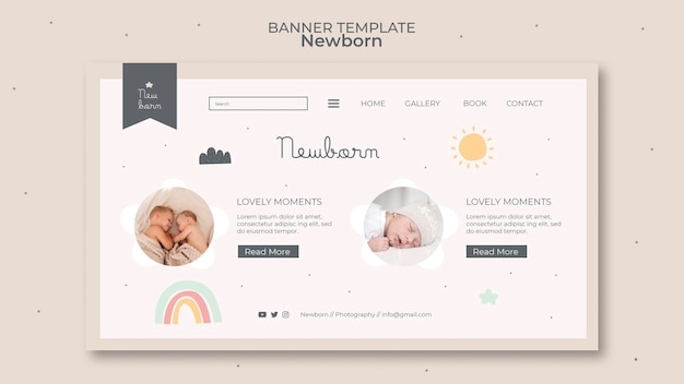 Pasgeboren baby banner sjabloonontwerp