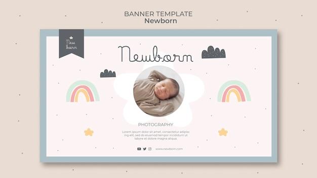 Pasgeboren baby banner sjabloonontwerp Gratis Psd
