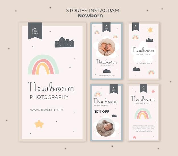 Pasgeboren babysjabloon van instagramverhalen